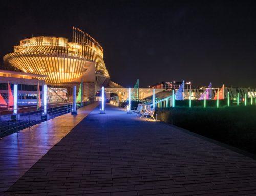 Casino de Montréal – Entrée principale: plan lumière extérieur et marquise