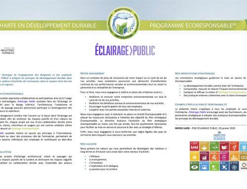 Une Charte en Développement Durable pour le Pôle de recherche Éclairage Public