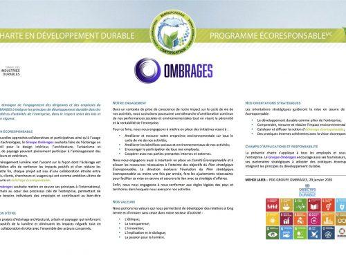 Une Charte en Développement Durable pour le Groupe Ombrages